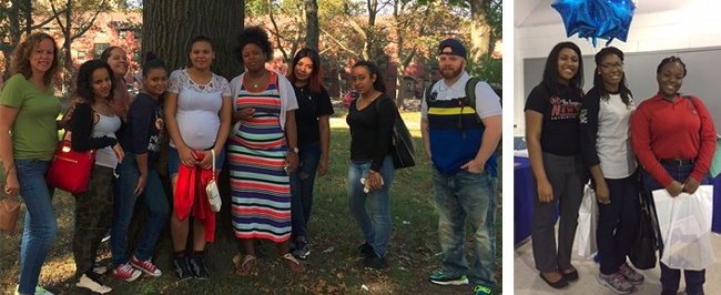 (left) LYFE Social Workers Jodi Kaltner and Elijah Tax-Berman with student parents from Jane Addams and Bronx Regional High Schools at the SUNY Bronx Equal Opportunities Center College Fair! (right) LYFE Social Worker Susan Farrell-Laplante with student parents from DeWitt Clinton High school at the SUNY Bronx Equal Opportunities Center College Fair!